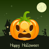 Happy Halloween Pumpkin Card on Green Royalty Free Stock Photo