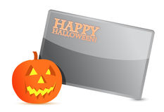 Happy halloween pumpkin card illustration design Stock Image