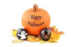 Happy Halloween pumpkin card. Stock Photo
