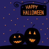 Happy Halloween  pumpkin card. Starry night. Royalty Free Stock Image