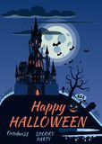 Happy Halloween pumpkin in the cemetery, an abandoned black castle, a full moon dark night, crosses and tombstones.  vector illustration