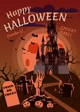 Happy Halloween pumpkin in the cemetery, an abandoned black castle, a hand stretches from the grave, a full moon dark. Night, crosses and tombstones royalty free illustration
