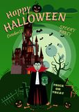 Happy Halloween pumpkin in the cemetery, abandoned black castle, Vampire with head Zombies, full moon dark night. Crosses and tombstones stock illustration