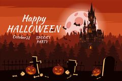 Happy Halloween pumpkin in the cemetery, black abandoned castle, gloomy autumn forest, panorama, full moon dark night. Crosses and tombstones, bats vector illustration