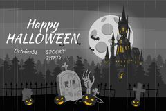 Happy Halloween pumpkin in the cemetery, black abandoned castle, gloomy autumn forest, panorama, full moon dark night. Crosses and tombstones, hand from the stock illustration