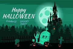Happy Halloween pumpkin in the cemetery, black abandoned castle, gloomy autumn forest, panorama, full moon dark night. Crosses and tombstones, hand from the vector illustration
