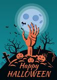 Happy Halloween pumpkin in the cemetery, the hand stretches from the grave, the full moon is the dark night, crosses and. Tombstones stock illustration