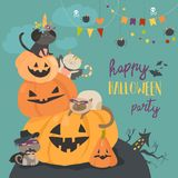 Happy halloween with pumpkin and cute cats in carnival costumes. Vector illustration royalty free illustration