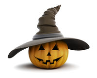 Happy Halloween pumpkin with hat isolated on white background. Stock Photography