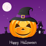Happy Halloween Pumpkin with Hat on Violet Stock Image