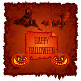Happy Halloween pumpkin and haunted castle vector Stock Photo