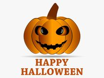 Happy Halloween. Pumpkin icon with shadow isolated on white background. Greeting card design element. Vector royalty free illustration