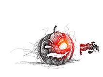 Happy Halloween pumpkin isolated on white background, Hand Drawn. Sketch Vector illustration Royalty Free Stock Photo