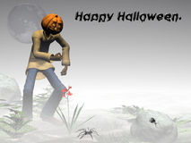 Happy Halloween, pumpkin jack, foggy forest. Stock Image