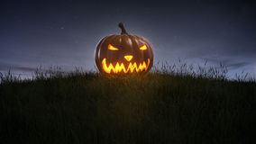 Happy halloween pumpkin on lawn Royalty Free Stock Photos