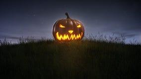 Happy halloween pumpkin on lawn Royalty Free Stock Photos