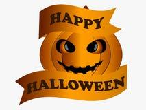 Happy Halloween. Pumpkin with ribbon, greeting card design element. Vector vector illustration