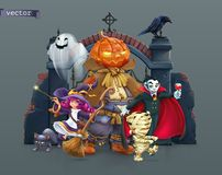 Free Happy Halloween. Pumpkin Scarecrow, Witch, Mummy, Vampire. 3d Vector Illustration Royalty Free Stock Photos - 159188818