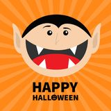Happy Halloween pumpkin text. Count Dracula head face. Cute cartoon vampire character with fangs. Big mouth tongue. Baby greeting Stock Photography