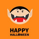 Happy Halloween pumpkin text. Count Dracula head face.  Royalty Free Stock Photos