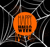 Happy Halloween pumpkin text over spider web illus Stock Photos
