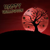 Happy halloween pumpkin tree on red moon Stock Image