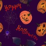 Happy Halloween: pumpkins, bat and spider web Stock Image