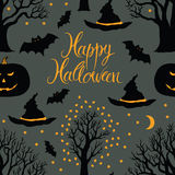 Happy Halloween, pumpkins and bats. Black trees on Stock Images