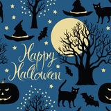 Happy Halloween, pumpkins, bats and cats. Black tr Royalty Free Stock Photo