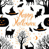 Happy Halloween, pumpkins, cats and bats. Black tr Royalty Free Stock Image