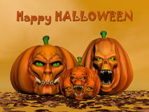 Happy halloween pumpkins - 3D render Royalty Free Stock Photography