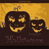Happy Halloween. Pumpkins on a dark background, A grinning Jack Stock Image