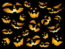 Happy halloween pumpkins faces background Stock Photo
