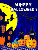 Happy Halloween with pumpkins. Poster, illustration, card, editable file Stock Images