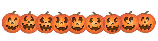 Happy Halloween Pumpkins in a Row. Nine different halloween pumpkins in a row Royalty Free Stock Photo