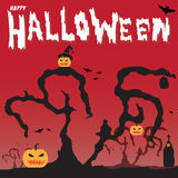 Happy Halloween pumpkins and Silhouette dry tree vector illustration background Royalty Free Stock Photography