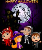 Happy Halloween purple background with children in Halloween costume. Illustration of Happy Halloween purple background with children in Halloween costume Stock Photography