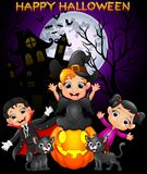 Happy Halloween purple background with children in Halloween costume. Illustration of Happy Halloween purple background with children in Halloween costume Royalty Free Stock Photography