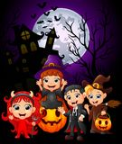Happy Halloween purple background with children in Halloween costume. Illustration of Happy Halloween purple background with children in Halloween costume Stock Photo