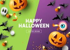 Happy Halloween Purple And Green Background royalty free illustration