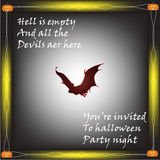 Happy Halloween quotes with bat and pumpkin Stock Photo