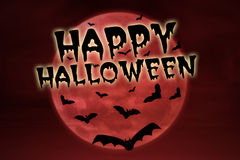 Happy halloween on red background Royalty Free Stock Photos