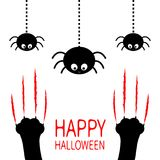 Happy Halloween. Red bloody claws animal scratch scrape track. Black cat scratching paw leg foot set. Hanging spider. Cute cartoon Royalty Free Stock Photography