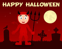 Happy Halloween Red Devil & Cemetery Royalty Free Stock Photos
