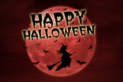 Happy halloween on red full moon and witch Royalty Free Stock Images