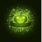Happy Halloween . Ribbon banner. Abstract bright flash of light with green lights. Green cartoon evil pumpkin, spiders and bats. L Royalty Free Stock Photos