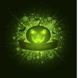 Happy Halloween. Ribbon banner. Abstract bright flash of light with green lights. Green cartoon pumpkin, spiders and bats. Luxurio Royalty Free Stock Image