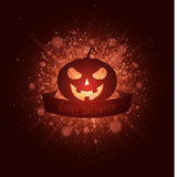 Happy Halloween. Ribbon banner. Abstract bright flash of light with red lights. Red cartoon malicious pumpkin. Luxurious invitatio Stock Images