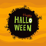 Happy Halloween Round Banner. Black round banner with different spooky elements and happy halloween text Stock Photos