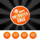 Happy Halloween Sale banner and 10%, 20%, 30% & 40% Off Marks. Vector illustration. Happy Halloween Sale banner and 10%, 20%, 30% & 40% Off Marks. Eps10 Royalty Free Stock Images